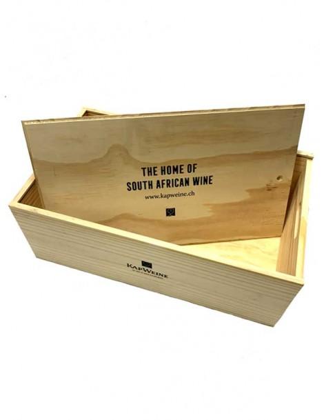 Kapweine 12er Holzkiste mit Schiebedeckel