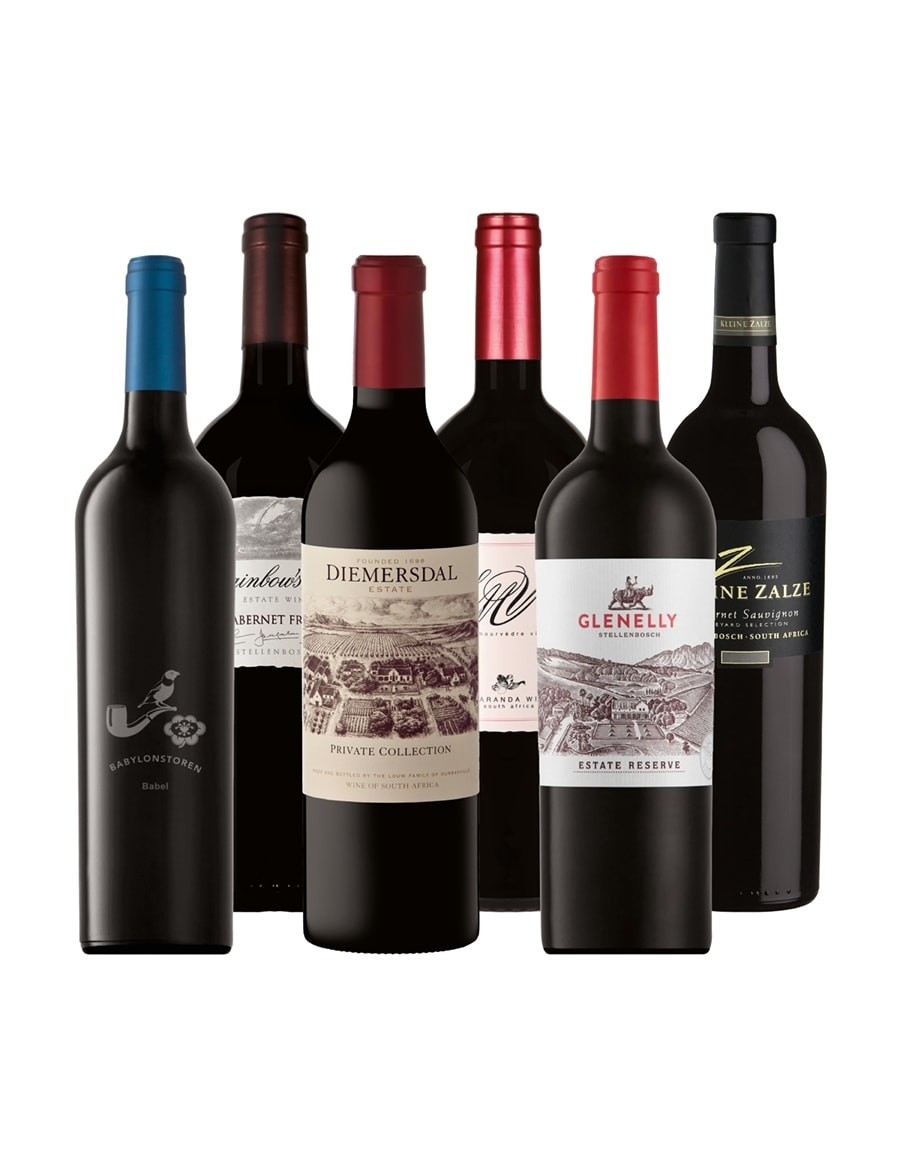 KapWeine - ECONOMY ROT 2019 - Glenelly Estate_Reserve Rouge - Jacaranda_SMV - Diemersdal_Private Collection - Kleine Zalze_Vineyard Selection_Cabernet Sauvignon - Rainbow's End_Cabernet Franc - Babylonstoren_Babel Red